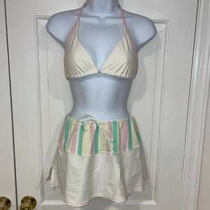 3 Piece island outfitters bikini white skirt set